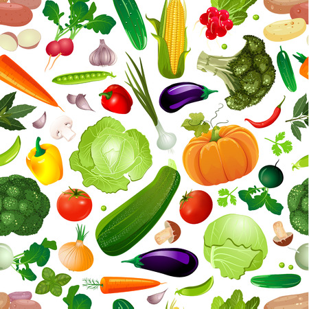 Colorful seamless texture with fresh vegetables for your design.