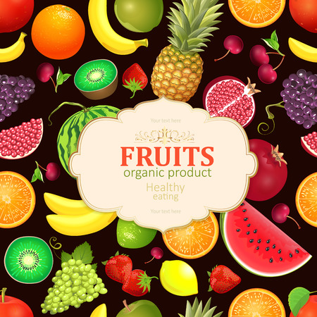 Vintage card with collection of fresh fruits and berries template. Illustration