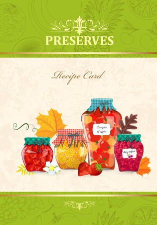 Autumn banner with canned fruits and berries in glass jars. Illustration