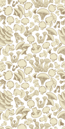 seamless texture with sketch edible mushrooms for your design Ilustrace