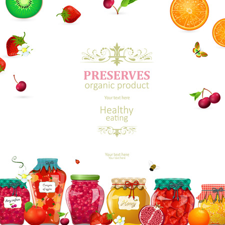 Cozy card with canned fruits and berries in glass jars for your design. Illustration
