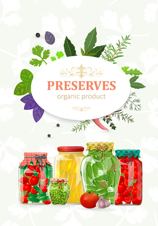 Sweet banner with canned vegetables in glass jars for your design.