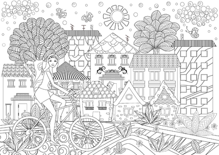 Pretty girl on bike in a city for coloring book