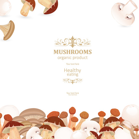 template card with edible mushrooms for your design