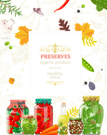 autumn card with delicious canned vegetables in glass jars for your design