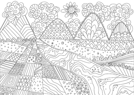 gorgeous mountain landscape for coloring book