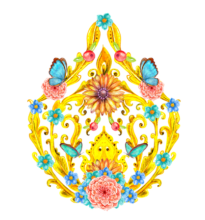 golden fancy arabesque and butterflies. watercolor painting