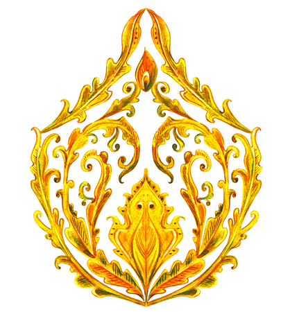 golden fancy arabesque. watercolor painting