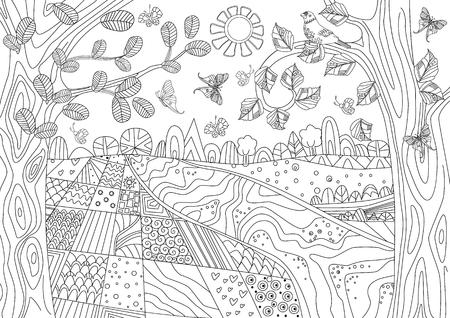 Gelukkig natuurlandschap voor uw kleurboek Vector Illustratie