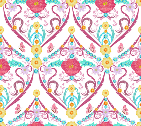 Graceful seamless texture with floral arabesque Illustration