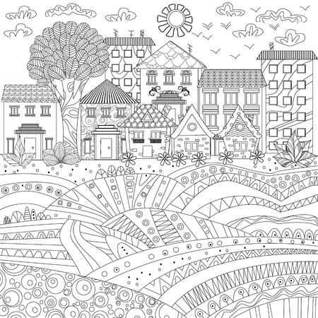 Cozy city for coloring book Çizim