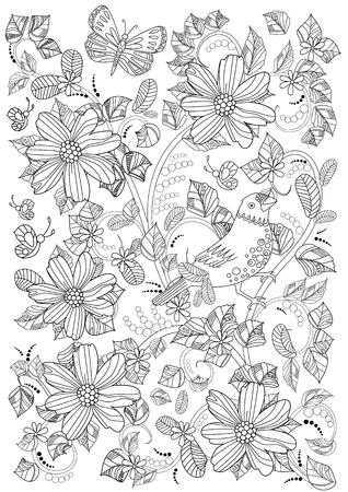 Blumenverzierung mit Vogel und Blumen für Malbuch