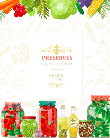 Banner with delicious canned vegetables in glass jars for your design Illustration