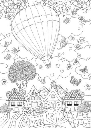Balon na ogrzane powietrze na niebie nad uroczym miastem do kolorowania
