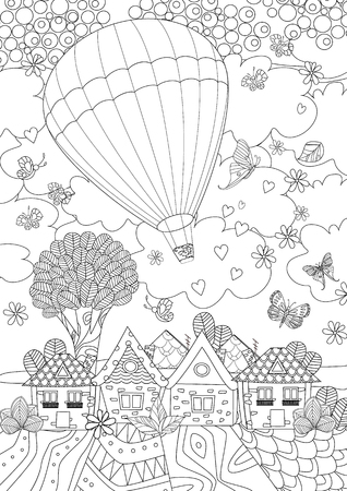 Hot air balloon in the sky above the cute city for your coloring book