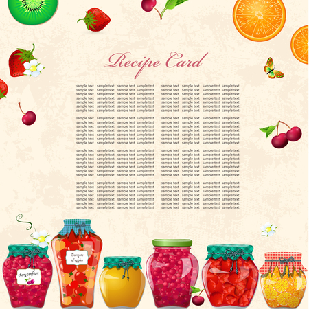 Cozy recipe card with preserving cans of fruits and berries for your design
