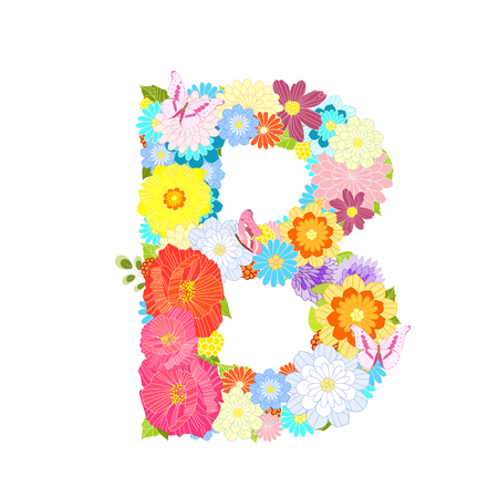 Romantic letter B of meadow flowers and butterflies Vectores