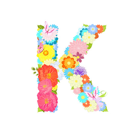 Romantic letter K with meadow flowers and butterflies