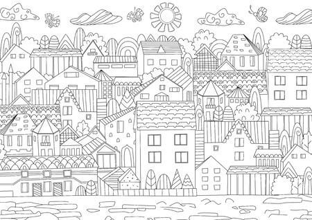 Entwurfszeichnung der Stadtbildillustration Standard-Bild - 99620163