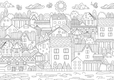 Outline drawing of city image illustration