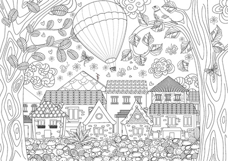 Hot air balloon and city outline illustration