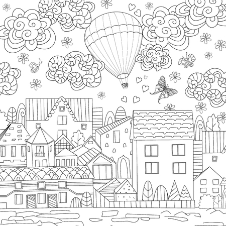Hot air balloon and outline houses illustration Ilustracja