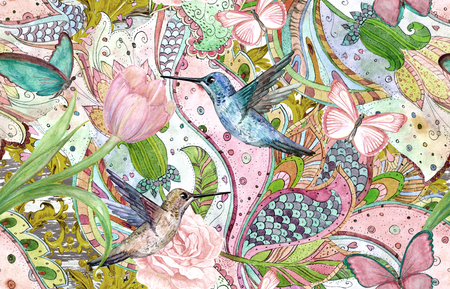 fashion seamless texture with ethnic floral ornament and hummingbirds. watercolor painting Stock Photo