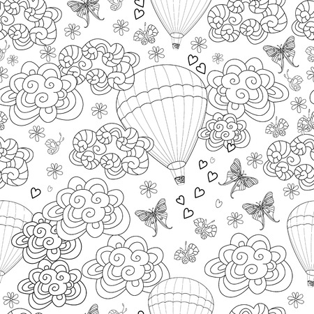 romantic seamless texture with hot air balloons in the sky for your coloring book