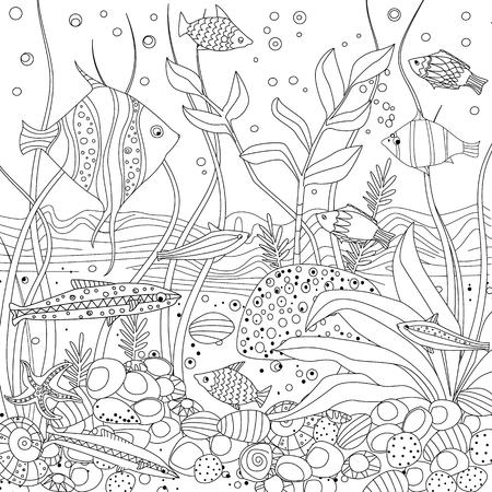 aquarium confortable avec des algues et des pierres de roche pour votre livre de coloriage Vecteurs