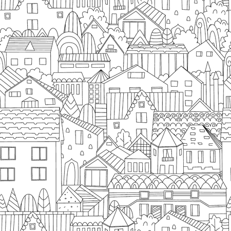 seamless texture with nice houses and trees for your coloring book