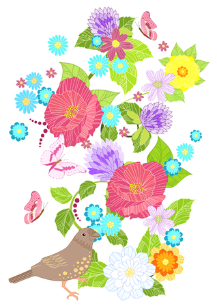 invitation card with meadow flowers and clever bird for your design Vetores