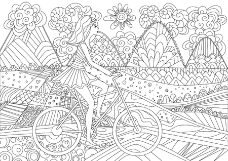 Chica de moda está montando en bicicleta en un paisaje de montaña para su libro para colorear Ilustración de vector