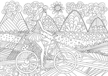 La ragazza della moda sta andando in bicicletta in uno scenario di montagna per il tuo libro da colorare Vettoriali
