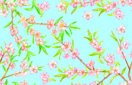 spring seamless texture with blossom branches of almond. watercolor painting