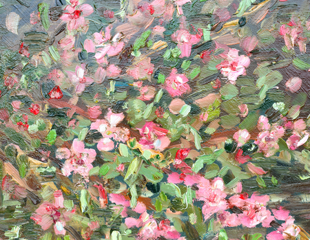 abstract background with blossom almond. oil painting Stock Photo