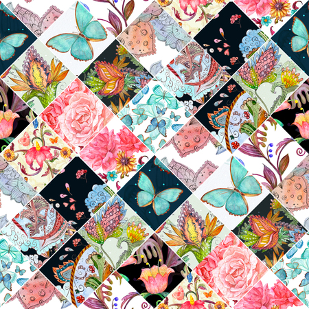 motley seamless background with floral patchwork pattern. watercolor painting