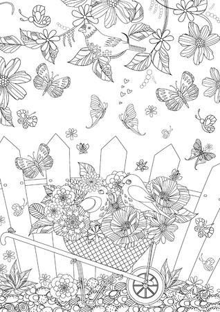 paysage d'été avec des oiseaux mignons en fleurs pour votre livre de coloriage