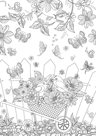 summer landscape with cute birds in flowers for your coloring book