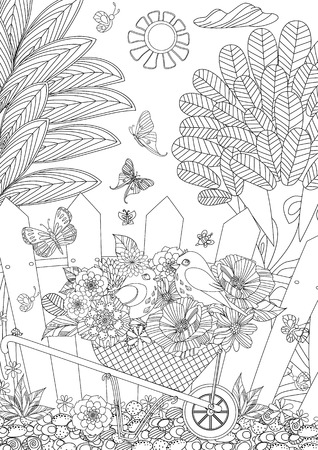 rustic landscape with cute birds in flowers for your coloring book