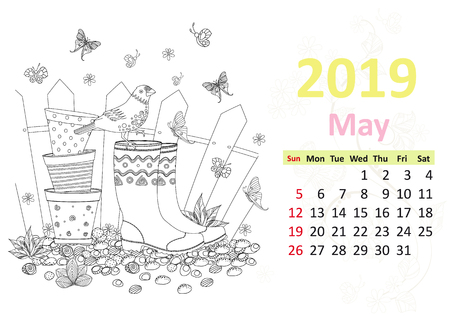 Happy coloring page. Calendar for 2019, may Ilustrace