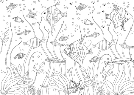 decorative fishes and seaweed for your coloring book