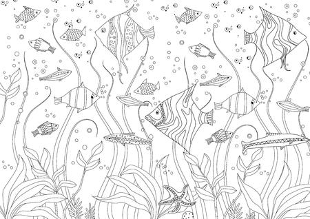 poissons décoratifs et algues pour votre livre de coloriage