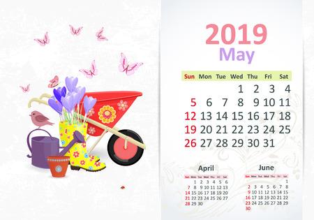 Lovely gardening. Calendar for 2019, may Vetores