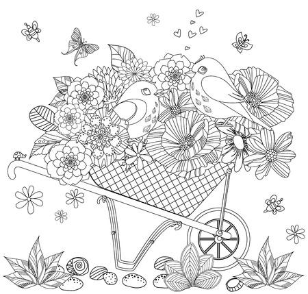 arrangement floral de fantaisie et couple d'oiseaux dans une brouette de jardin mignon pour votre livre de coloriage