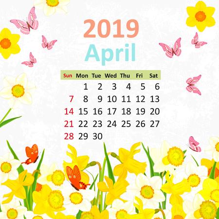 Lovely flowers. Calendar for 2019, april