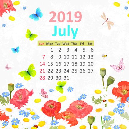 Lovely flowers. Calendar for 2019, july Illustration