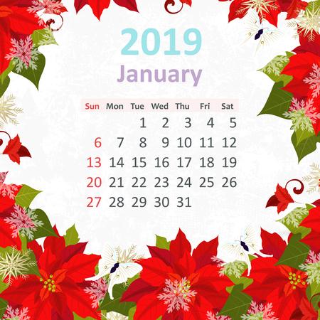 Lovely flowers. Calendar for 2019, january Illustration