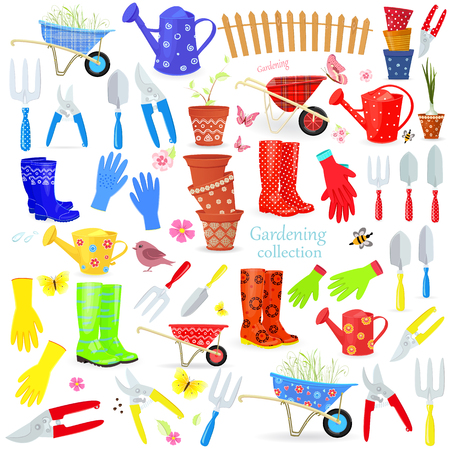 big collection of colorful gardening tools and equipments on white background your design