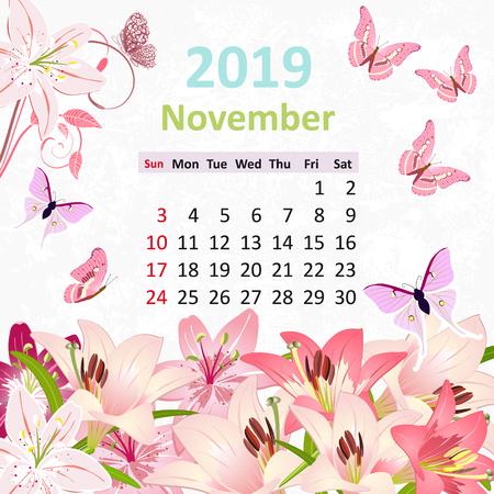 Lovely flowers. Calendar for 2019, november