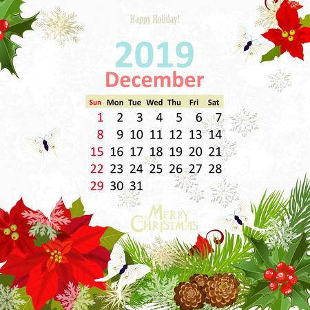Lovely flowers. Calendar for 2019, december